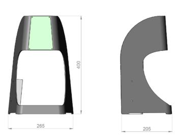 Voici les dimensions du distributeur de gel hydro alcoolique Fludoz Nomade