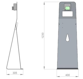 Pour avoir un aperçu, ce sont les dimensions du distributeur de gel hydroalcoolique Fludoz Totem