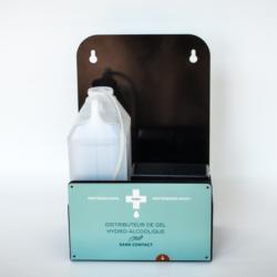 Ce distributeur de gel hydro-alcoolique Mural sans contact se fixe sur un mur comme dans les toilettes, vestiaires etc